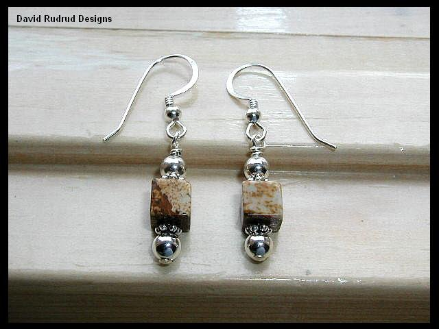 New Picture Jasper Cube Drop Earrings Gemstone and Sterling Silver