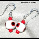 SPECIAL! Free S/H Colorful Red White Black Dot Lampwork Drop Earrings Sterling Silver