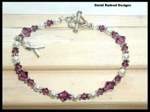 CYSTIC FIBROSIS Awareness Bracelet Swarovski Crystal & Pearl Symptom