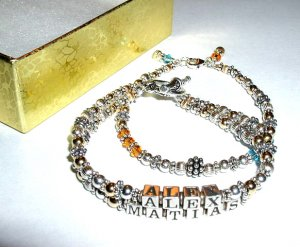 MOTHERS GIFT - Two 2 Name Mothers Name Bracelet Bali Gold Silver Crystal