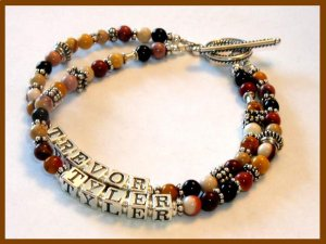 MOTHERS GIFT - 2 Name Mothers Bracelet Bali Sterling Gemstone