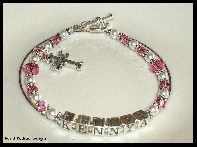 Girls Birthstone Baptisim Dedication Name Bracelet Gift Crystal Cross and Sterling Silver Jewelry