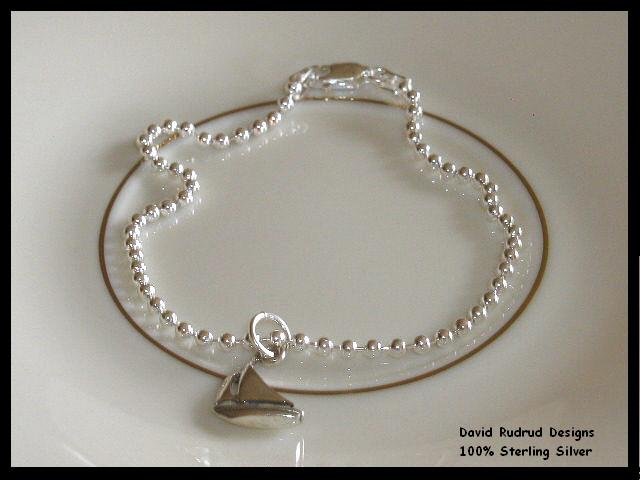 Sigma Sigma Sigma Sorority Sailboat Charm Bead Bracelet Sterling Silver