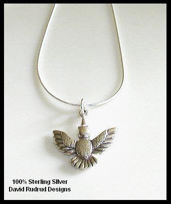 Solid Sterling Silver HUMMINGBIRD Charm Necklace 18 Inches