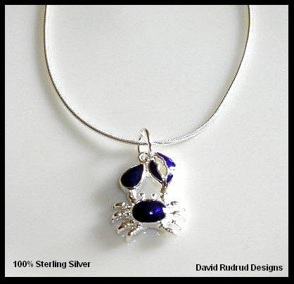 PURPLE MARCASITE CRAB  Sterling Silver Charm Necklace 18 Inches