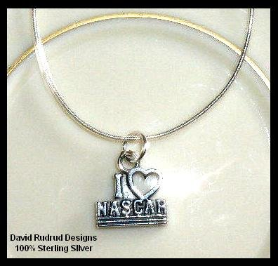 Solid Sterling Silver I LOVE NASCAR Charm Necklace 18 In.