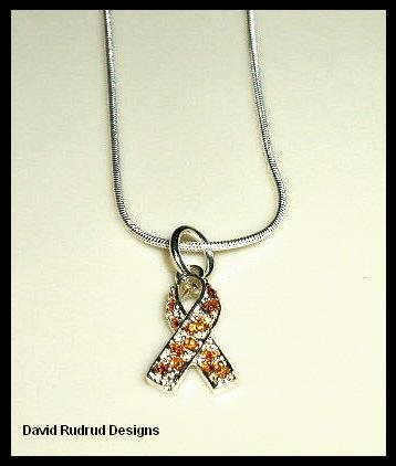 Solid Sterling Silver SWAROVSKI CRYSTAL YELLOW AWARENESS RIBBON Charm Necklace 18 Inches