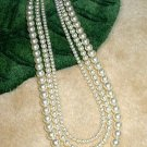 Bridesmaid Bride 3 Strand  Swarovski Crystal PEARL Necklace Wedding