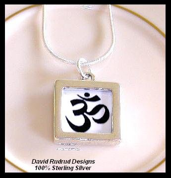 Solid Sterling Silver OM YOGA Charm Necklace 18 Inches