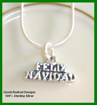 Solid Sterling Silver FELIZ NAVIDAD CHRISTMAS Charm Necklace 18 Inches