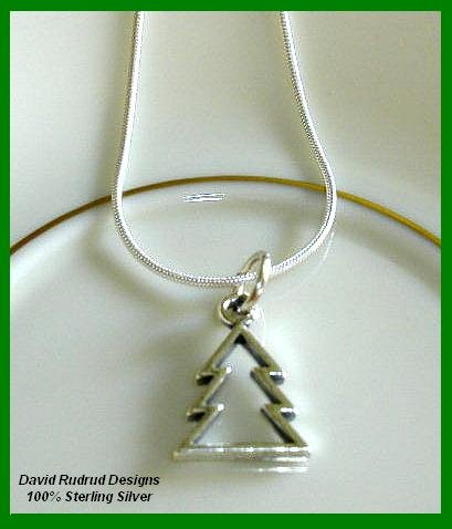 Solid Sterling Silver CHRISTMAS TREE Charm Necklace 18 Inches