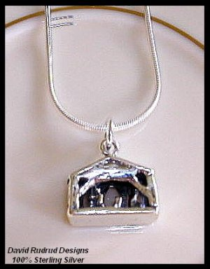 "Manger NATIVITY SCENE 18"" Sterling Silver Charm Necklace Gift"