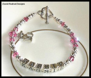 Custom SWEET 16 Girls Name Bracelet Swarovski Crystal and Sterling Silver