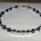 CLAY AIKEN Tribute Ankle Bracelet ANKLET  Beaded Crystal Sterling Silver