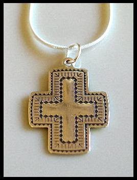 Solid Sterling Silver SANTA FE CROSS Charm Necklace 18 Inches