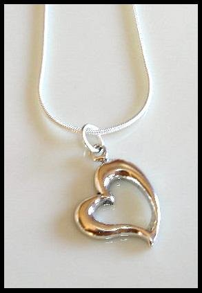 Solid Sterling Silver OPEN HEART Charm Necklace 18 Inches