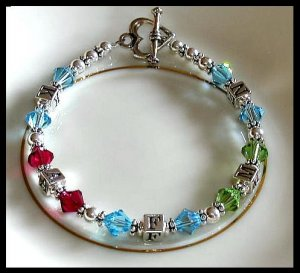 MOTHERS GIFT -  Grandmothers Mothers Family Birthstone Initial Bracelet Swarovski & Sterling