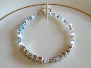 MOTHERS GIFT - BIRTHSTONE Two Name Mothers Bracelet Sterling Swarovski Crystal