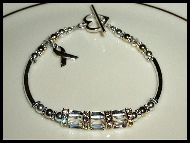 Swarovski Crystal Cube LUNG CANCER Awareness Bracelet Sterling Gold