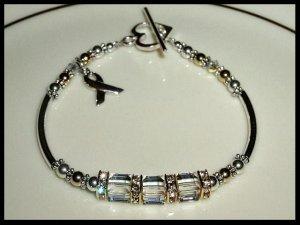 Swarovski Crystal Cube LUNG CANCER Awareness Bracelet Sterling Gold