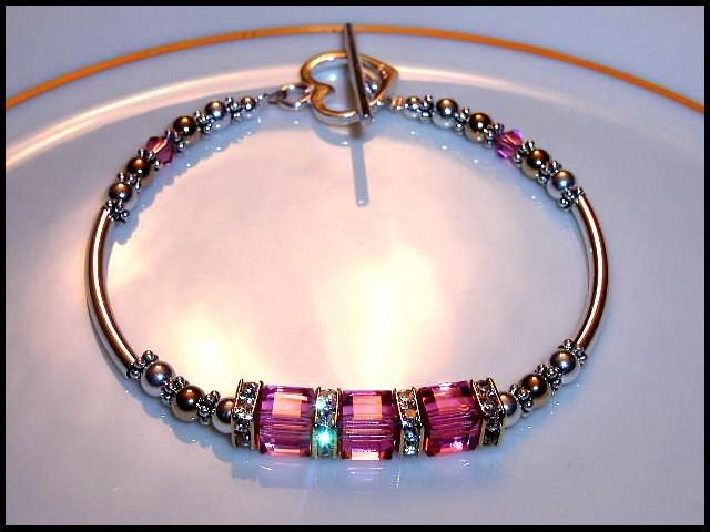 Swarovski Pink Crystal Cube Bracelet Gold Silver Jewelry Gift