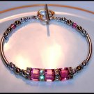 Swarovski Pink Crystal Cube Bracelet Gold Silver Jewelry Gift