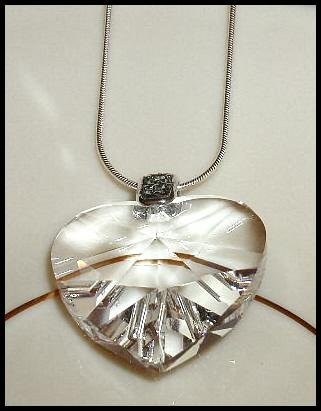 LARGE 28mm Swarovski Clear Crystal HEART NECKLACE Jewelry 18 inches Jewelry Gift