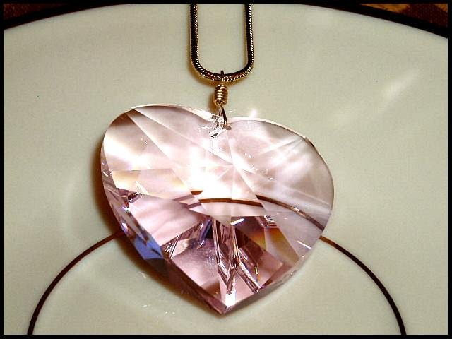 CLOSEOUT Gift HUGE 40mm Swarovski PINK Crystal HEART NECKLACE 16 inch GP Gold Necklace