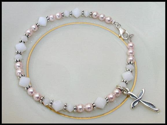 1st First Communion Gift Girls Pink White Cross Bracelet Crystal Pearl