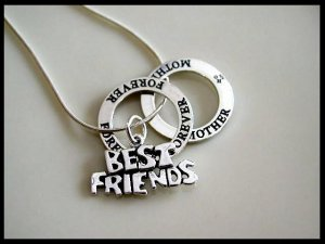 BEST FRIENDS FOREVER MOTHER 18 Inch Solid Sterling Silver Charm Necklace