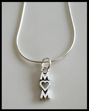 """Sale!  MOM Heart Charm Necklace 18"""" Solid Sterling Silver"""