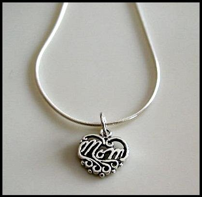 Solid Sterling Silver MOM Charm Necklace