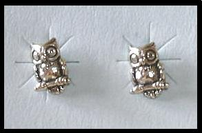 Solid Sterling Silver OWL post earrings