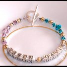 MOTHERS GIFT - Gold with BIRTHSTONE Two Name Mothers Name Bracelet Sterling Swarovski Crystal