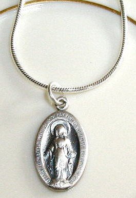 Solid Sterling Silver HOLY Virgin MARY Charm Necklace