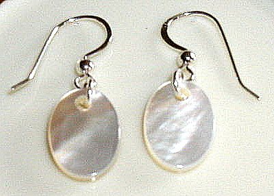 Sterling Silver Polished Oval SHELL Earrings