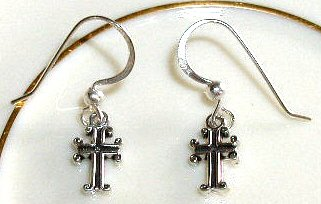 Boutique set of Sterling Sterling CROSS  Drop Earrings w/ Sterling Silver French earwire