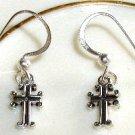 Boutique set of Sterling Sterling CROSS  Drop Earrings w/ Sterling Silver French earwire