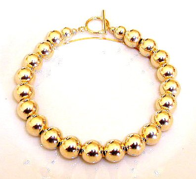 Elegant 8mm Gold Bead Bracelet ~ 14K Gold Filled