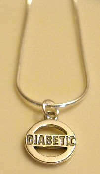 Solid Sterling Silver DIABETIC Awareness Charm Necklace