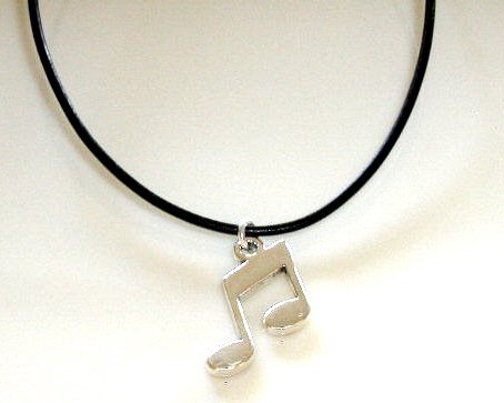 Musical Notes 18 In. Italian Black Leather Necklace Music