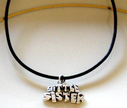 Sterling LITTLE SISTER 18 Inch Italian Black Leather Necklace