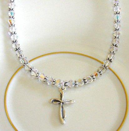 Clear Swarovski Crystal Sterling Silver Cross Necklace