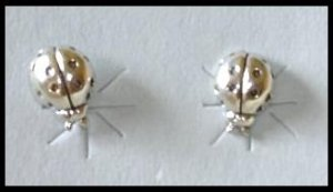 PHI MU Sorority Solid Sterling Silver LADYBUG Earrings