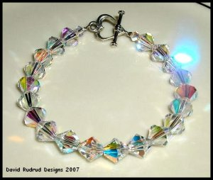 SWAROVSKI CLEAR AB CHUNKY Crystal Bracelet Sterling Silver