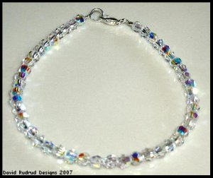 New SWAROVSKI CLEAR AB ROUND Crystal Bracelet Sterling Silver