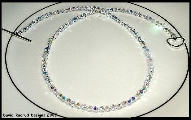 New SWAROVSKI ROUND 20 Inch CLEAR AB Crystal Necklace Sterling Silver