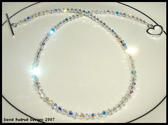 New SWAROVSKI 16 Inch CLEAR AB Crystal Necklace Sterling Silver Choker