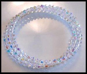 New SWAROVSKI CLEAR AB 3 Strand Crystal Wrap Bracelet Jewelry Gift
