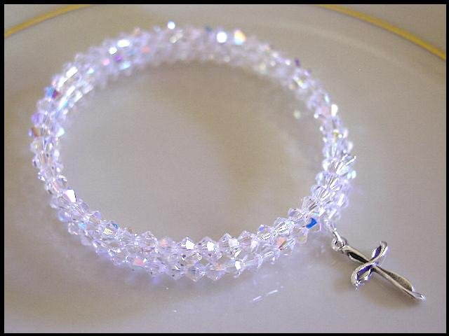 Sterling CROSS SWAROVSKI CLEAR AB 3 Strand Crystal Wrap Bracelet